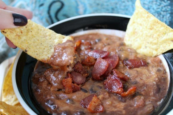 Cheesy Black Bean Bacon Dip   How to be Awesome on $20 a Day