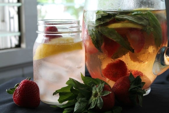 Strawberry Lemon & Basil Infused Water   How to be Awesome on $20 a Day