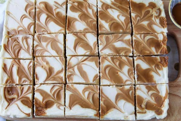 Caramel Swirl Cheesecake Bars   How to Be Awesome on $20 a Day