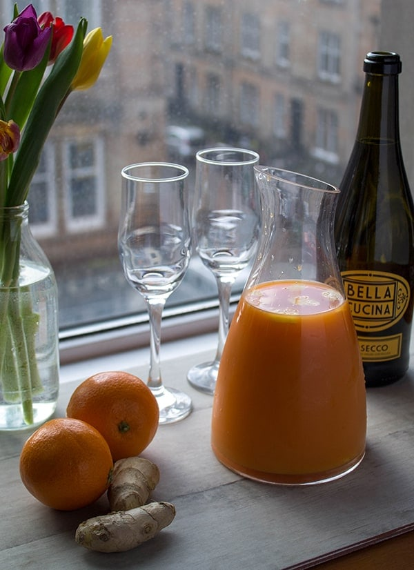 Carrot Ginger Orange Mimosas   How to Be Awesome on $20 a Day