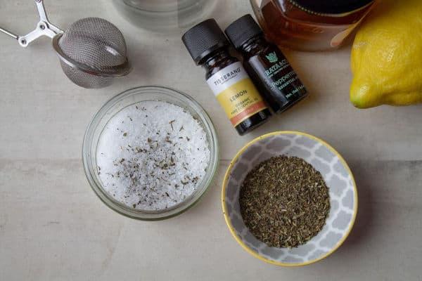 epsom salt, mint, and essential oils