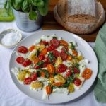 Roasted Tomato & Mozzarella Salad with bread