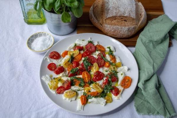 Roasted Tomato & Mozzarella Salad with bread