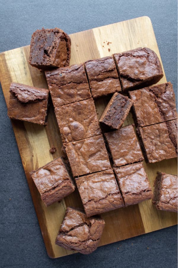 A wooden tray with Kahlua Brownies from above