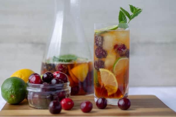 Pimm's & Cherry Lemonade with cherries