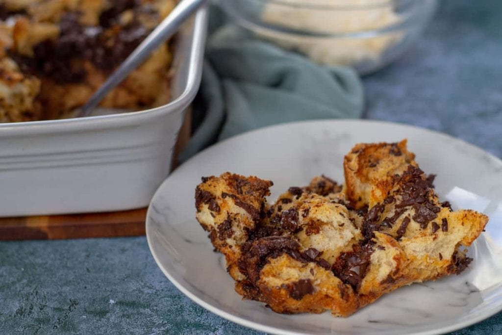Chocolate Chip Bread Pudding close up serving