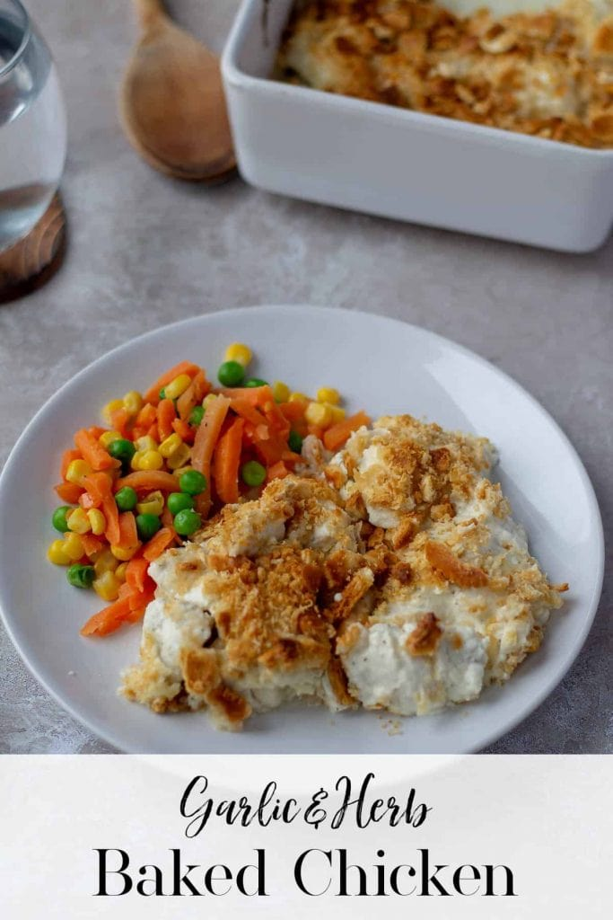 Garlic & Herb Baked Chicken with text