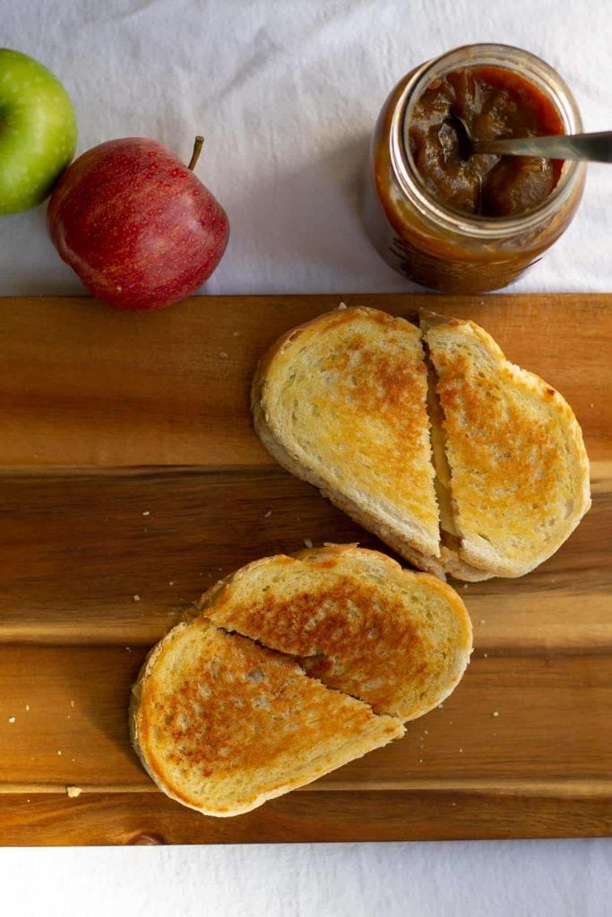 Apple Butter & Sharp Cheddar Grilled Cheese cut in half