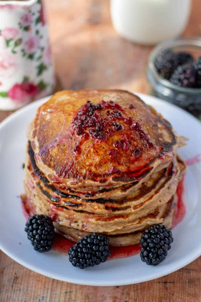 Cinnamon Whole Wheat Pancakes with Blackberry Brown Butter Syrup