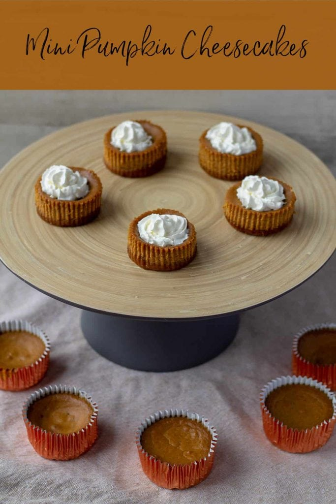 Mini Pumpkin Cheesecakes with text