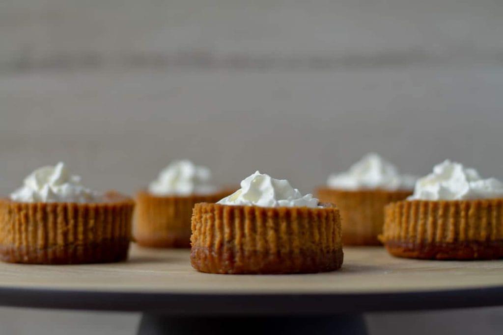 Mini Pumpkin Cheesecakes with whipped cream