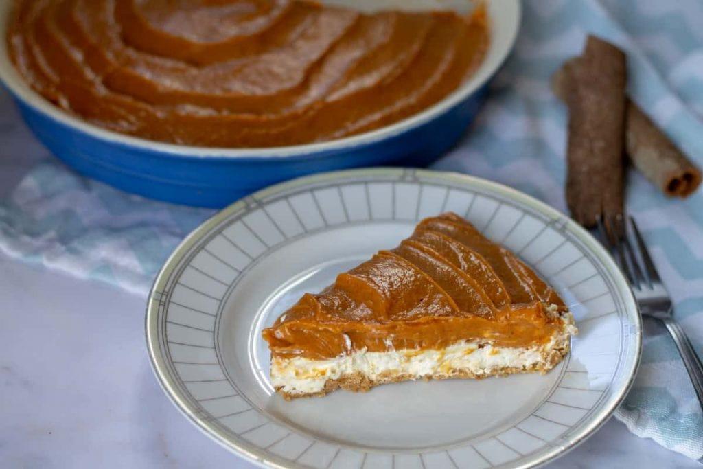 No-Bake Double-Layer Pumpkin Pie slice