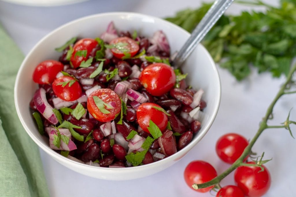 Red Bean Salad with cherry tomatoes