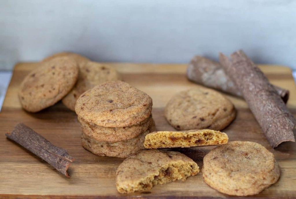 Snickerdoodle cookies broken in half