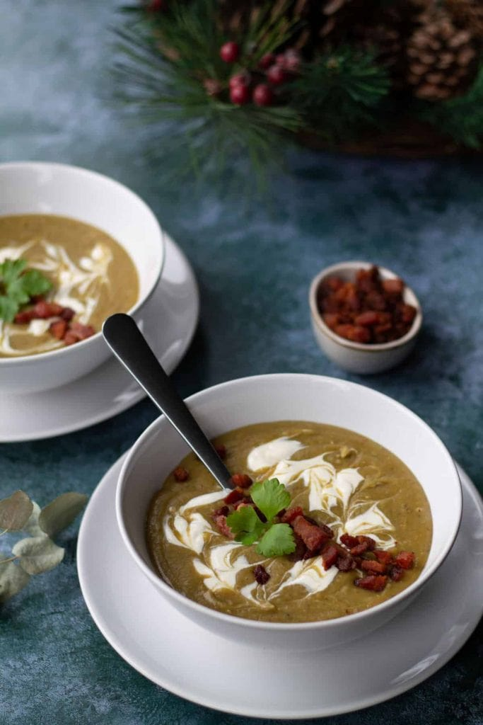 Chestnut Soup in a bowl with bacon and creme fraiche