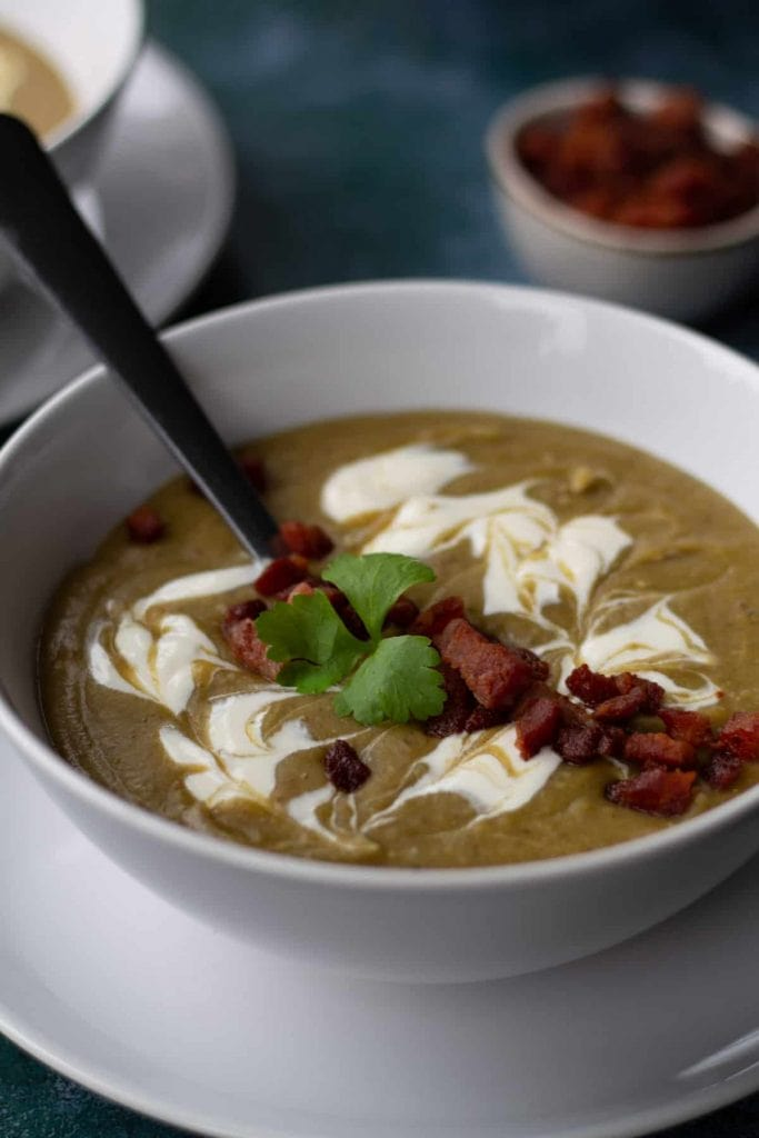 Chestnut Soup with bacon and creme fraiche