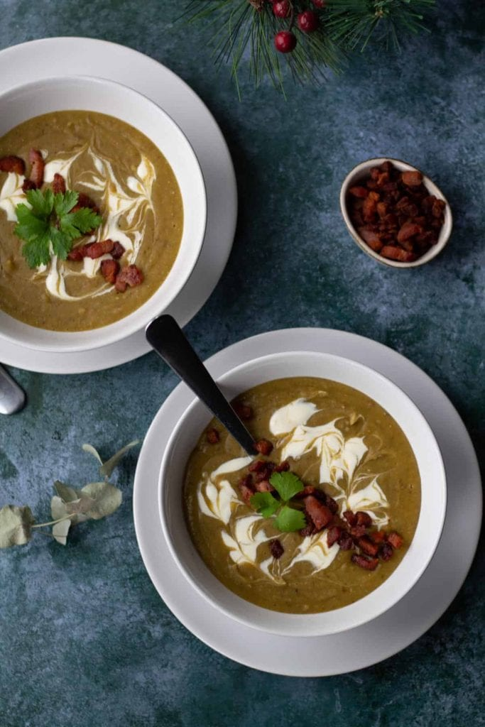 two bowls of Chestnut Soup with bacon from above