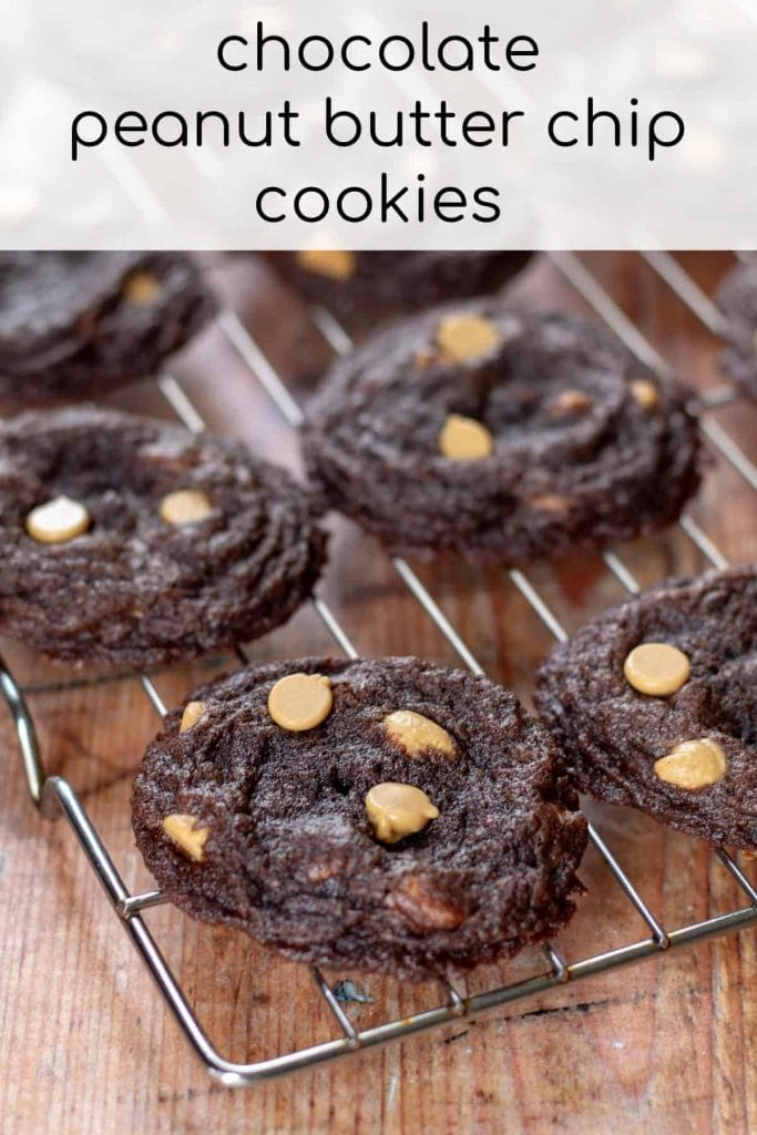 Chocolate Peanut Butter Chip Cookies on a rack with text