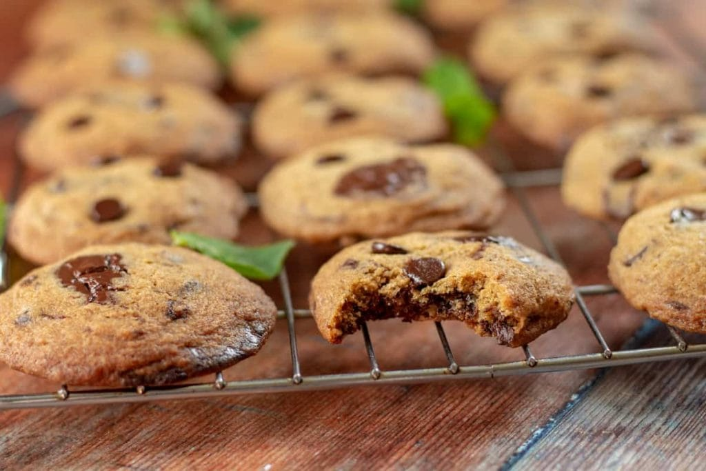 Mint Chocolate Chip Cookies with a bite taken