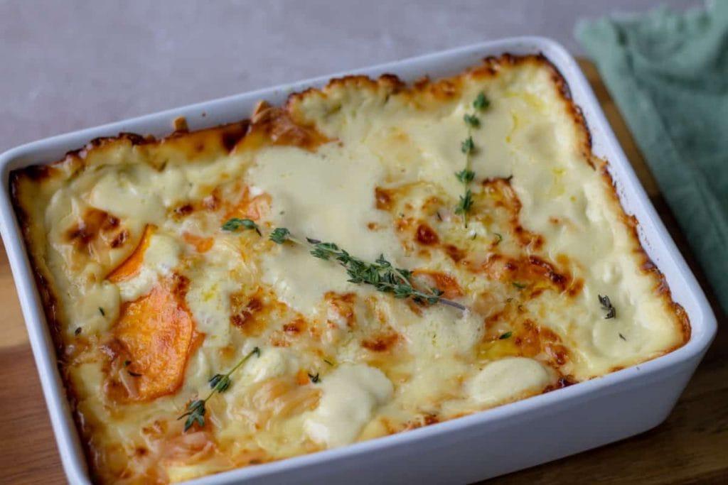 Sweet Potato Gratin in a casserole dish