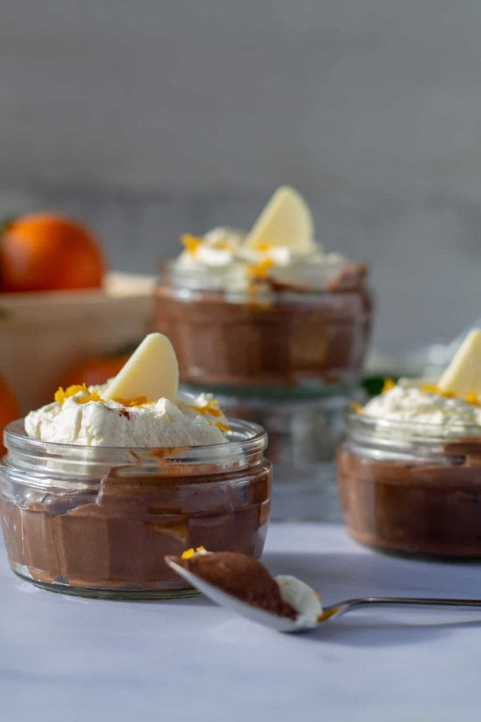 Chocolate Orange Mousse with a spoon