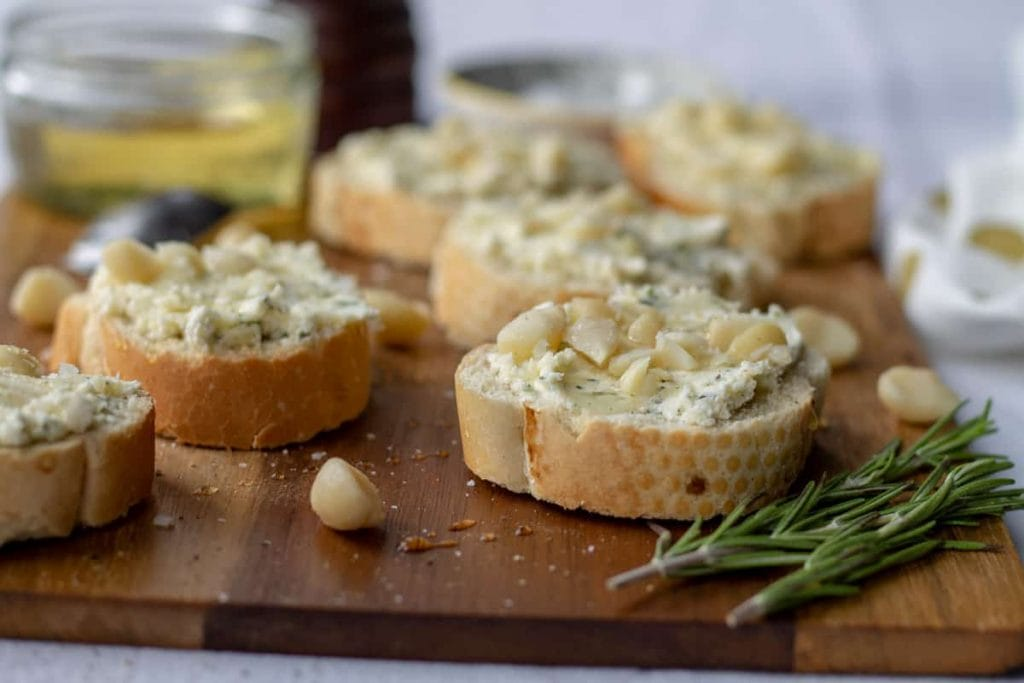 Goat Cheese Crostini and rosemary
