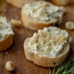 Goat Cheese Crostini with macadamia nuts