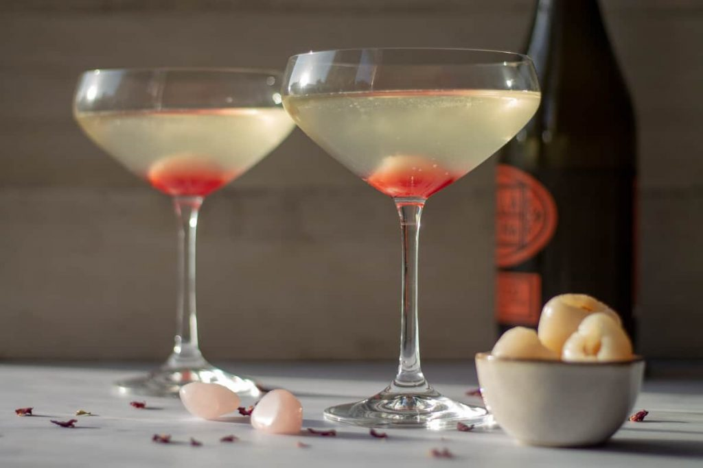 Lychee Mimosas with grenadine