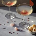 Lychee Mimosas coupe glasses