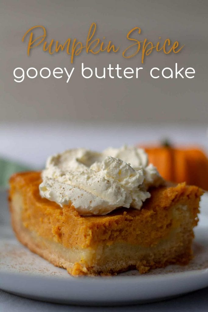 Pumpkin Spice Gooey Butter Cake with text