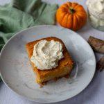 Pumpkin Spice Gooey Butter Cake and a mini pumpkin