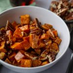 Roasted Sweet Potatoes with Spiced Maple Butter close up