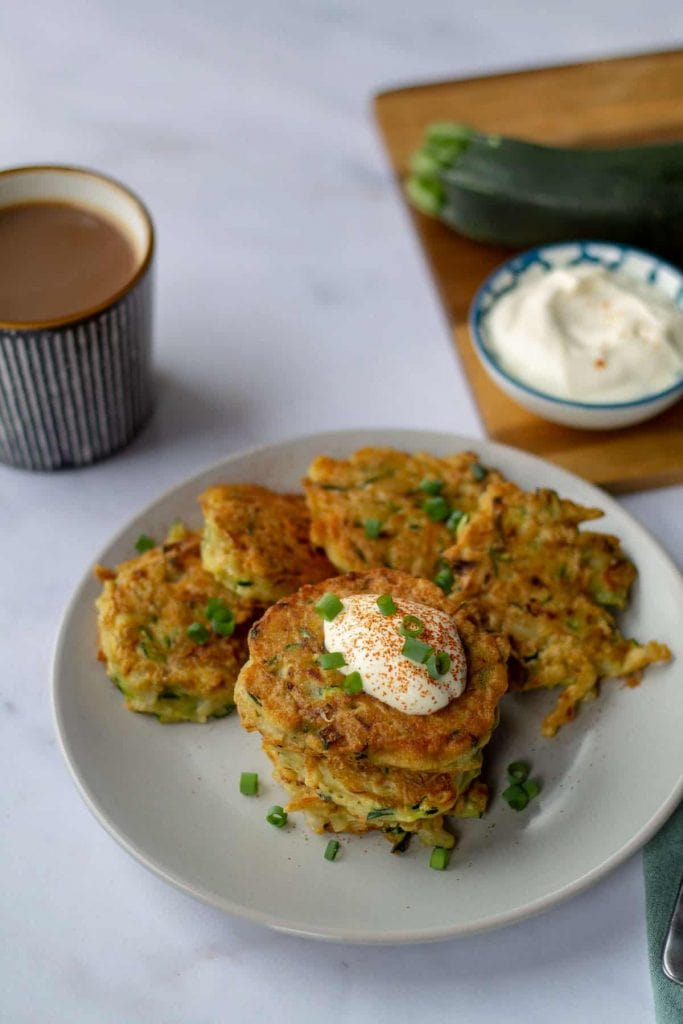 Zuchinni & Potato Pancakes on a plate