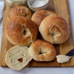 Sea Salt Bagels with spicy cream cheese