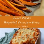 Cut sweet potatoes and a sweet potato shepherd's pie