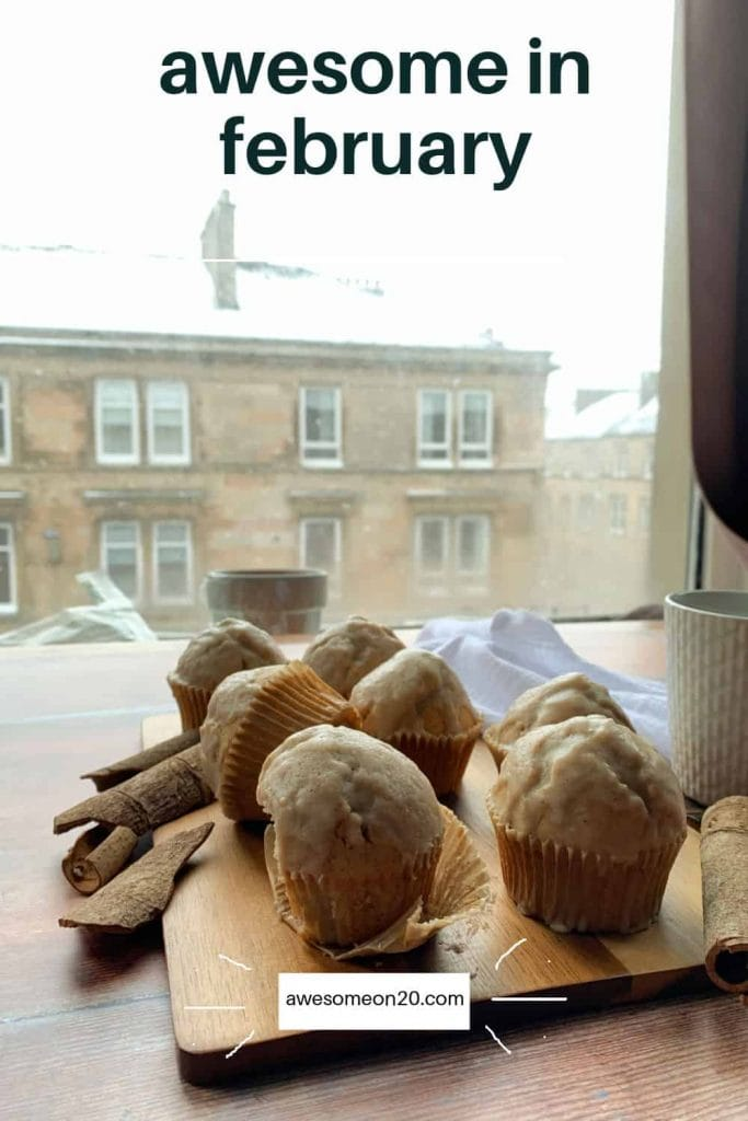 Awesome in February muffins with snowy city in the background