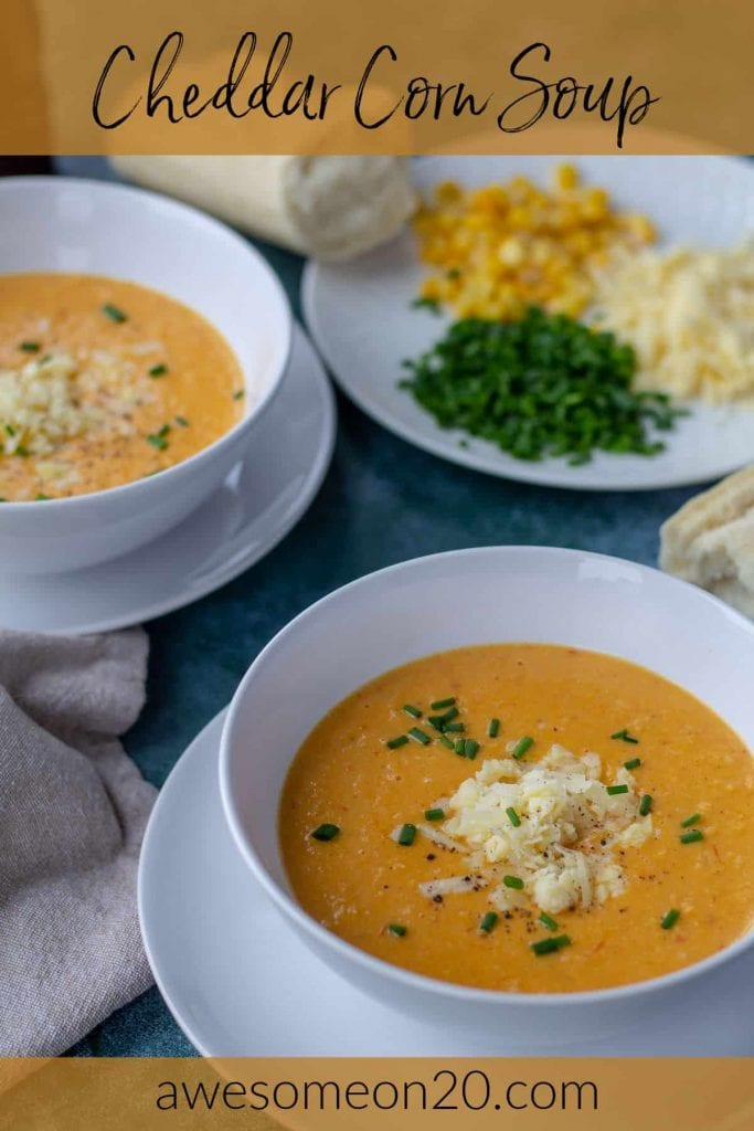Cheddar Corn Soup in two bowls with text