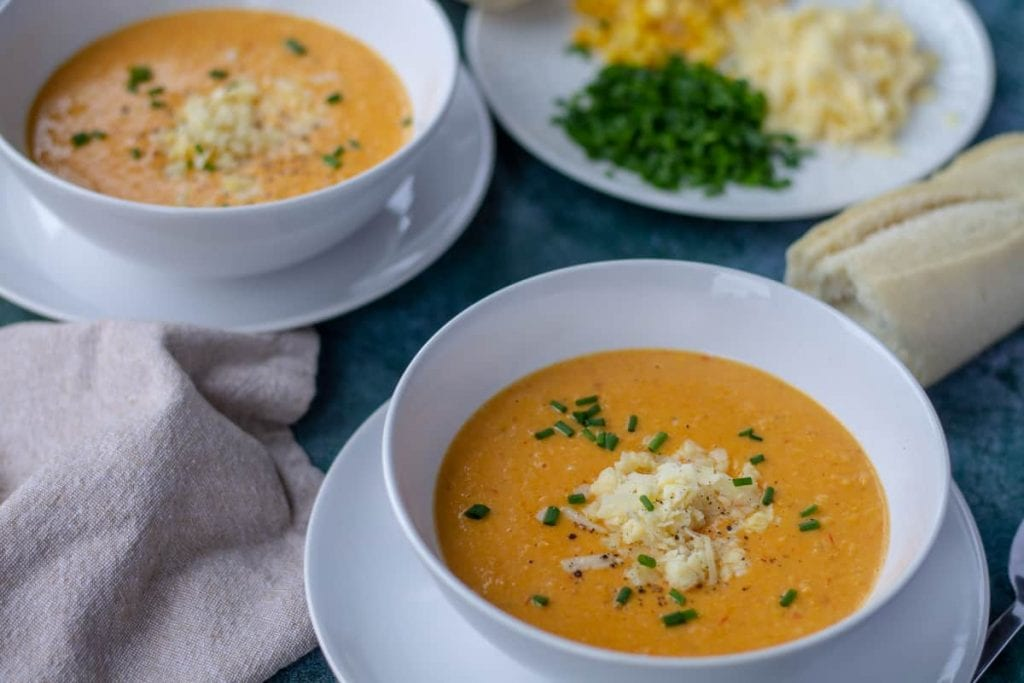 Cheddar Corn Soup with cheese and chives