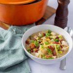 Chicken Corn Chowder and orange pot