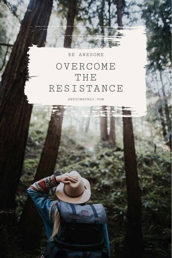 Overcome the resistance with a girl in a forest