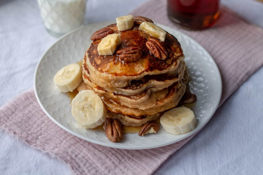 Whole Wheat Pancakes with bananas and pecans