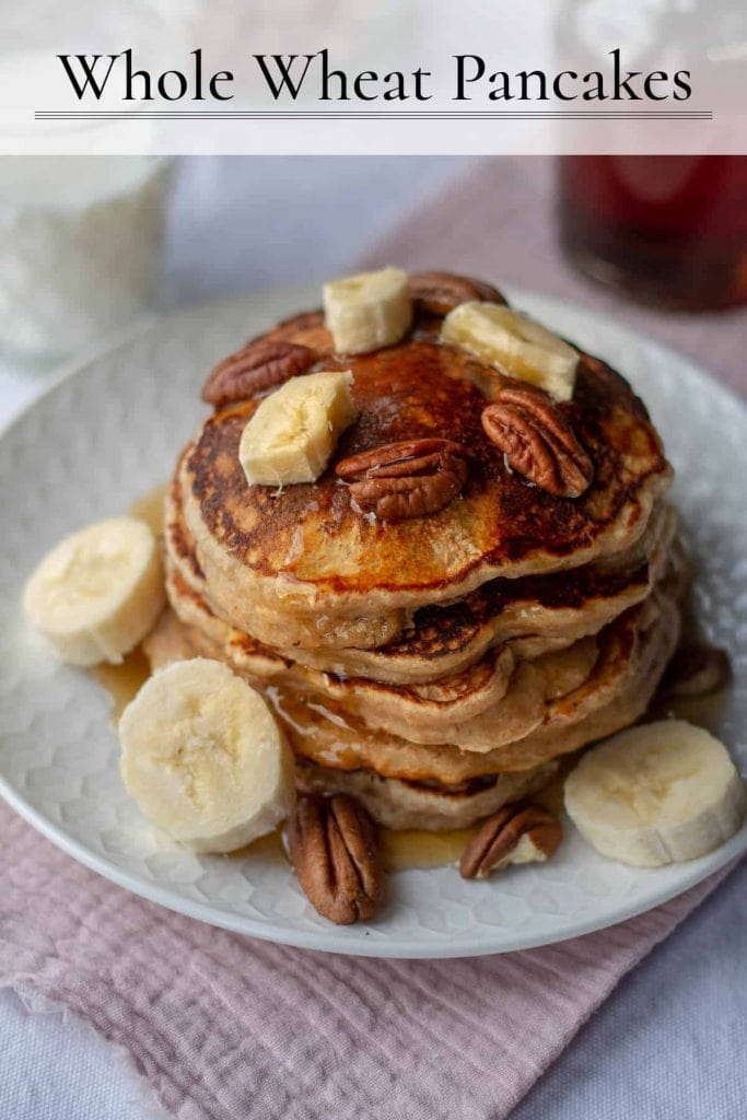 Whole Wheat Pancakes with text