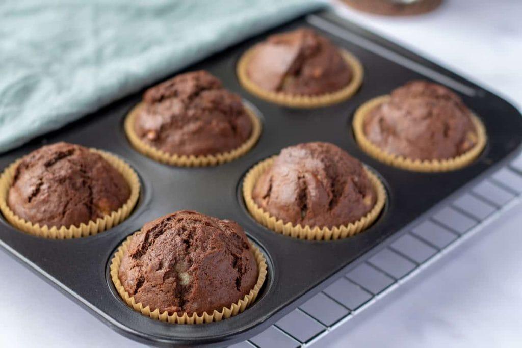Chocolate Banana Muffins in the pan