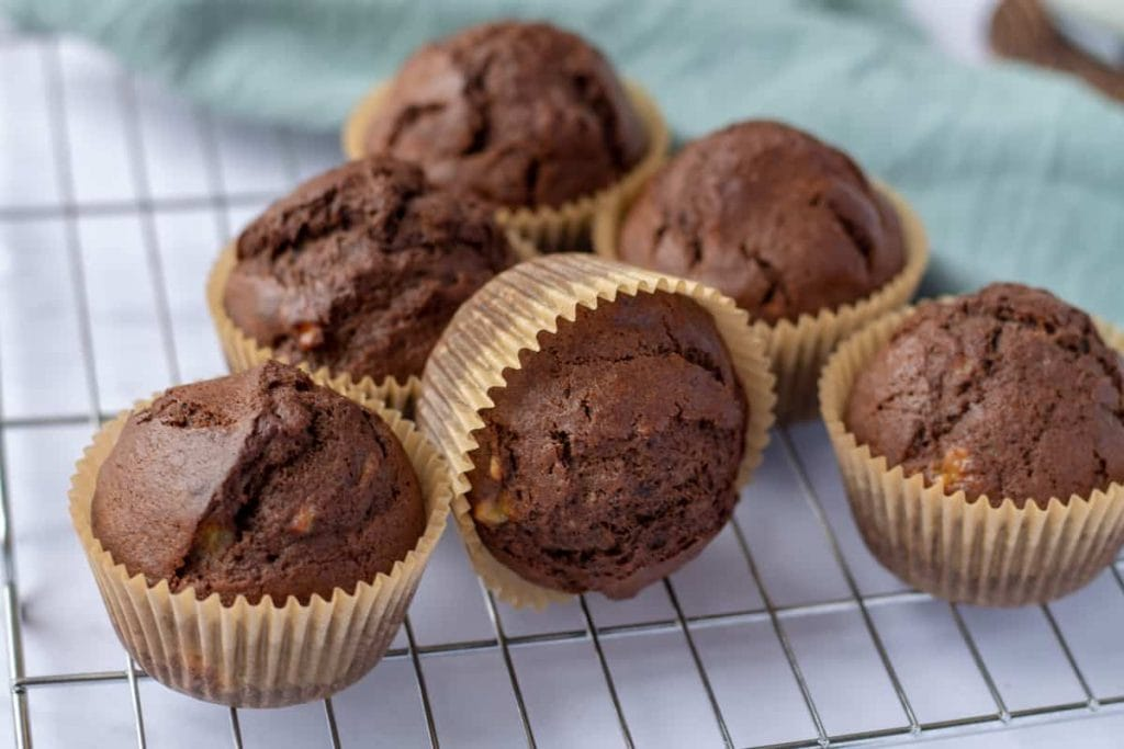 Chocolate Banana Muffins on a rack