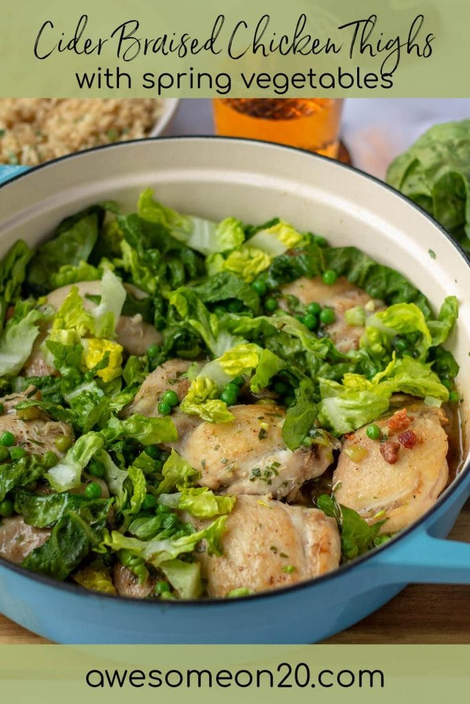 Cider Braised Chicken Thighs with text