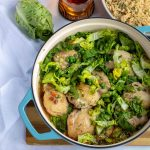 Cider Braised Chicken Thighs with spring vegetables