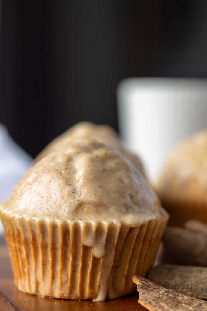 Double-Glazed Chai Spiced Muffins with dripping glaze