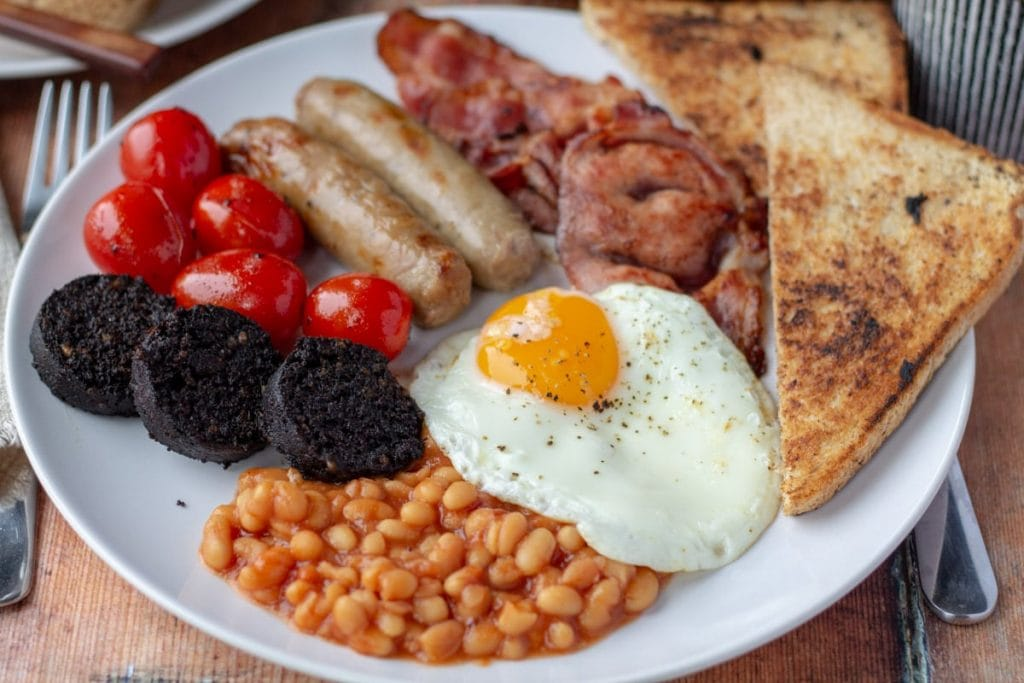 Full English Breakfast with beans, egg, and black pudding