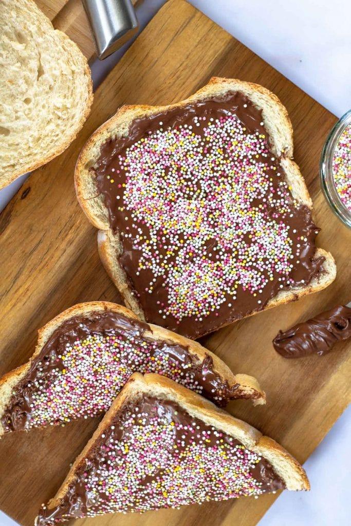 Nutella Fairy Toast with sprinkles