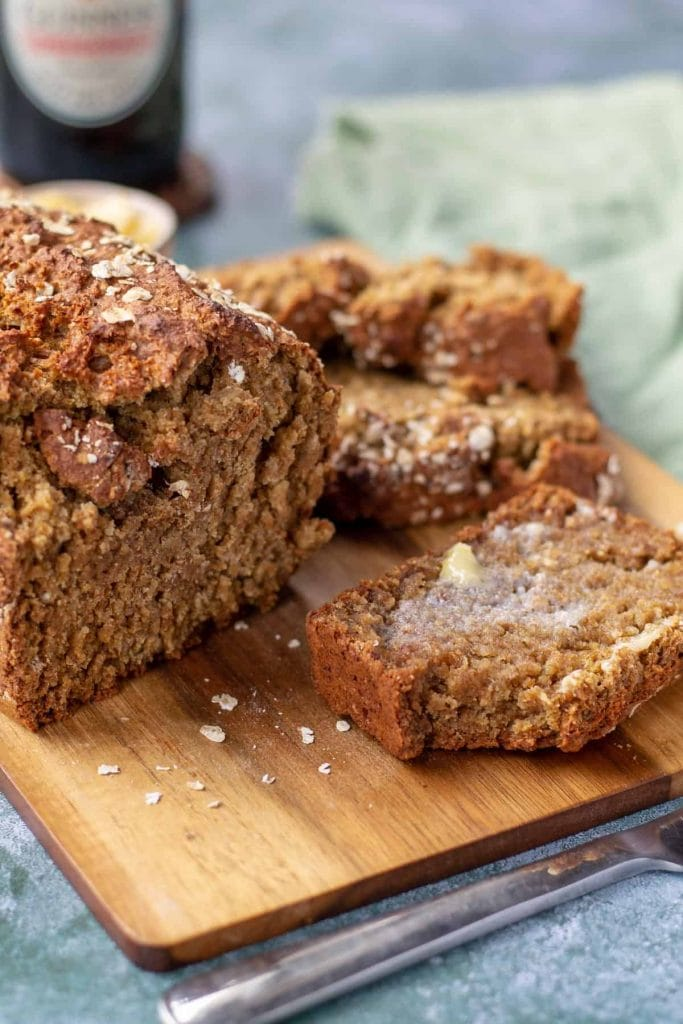 Whole Wheat Guinness Soda Bread sliced with butter